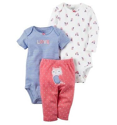 be7fc9e26 Carter's Preemie Baby Girl 3Pc Love Owl Bodysuits Legging Set Cotton Outfit