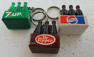 Vintage Pepsi Cola, 7-Up, And Dr. Pepper Bottle Carton Key Chains (Lot Of 3)