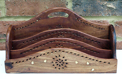 Letter Rack Quality Carved Mango Wood With Inlaid Metal Flowers 3 Slot 30 cm New