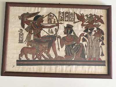 Vintage Old Framed Hand-Painted Egyptian Art on Papyrus 20x30cm Signed هند