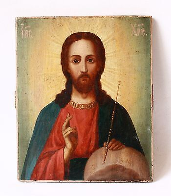 Antique 19thC Russian Orthodox Hand Painted on Wooden Panel Icon of Jesus Christ