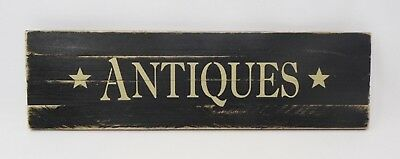 """* Antiques * Primitive Vintage Repro Shabby Wood Sign Country Black 21"""" x 6"""""""