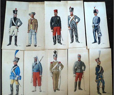 22 gouaches originales d'uniformes de trains d'artillerie dont 1er & 2nd empire