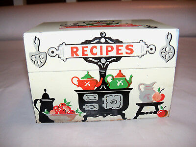 "Vintage Stylecraft Recipe Box Metal Tin Holds 3"" x 5"" Cards Blank Cards Included"
