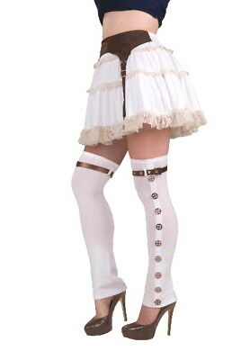 SteamPunk Cosplay White Buckled Women's Spats, Adult Costume, NEW SEALED UNWORN