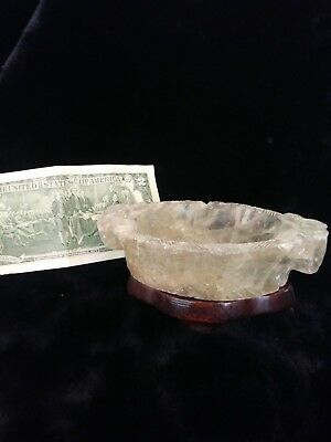 Antique/Vintage Carved Fluorite Brush Washer with Wood Stand!
