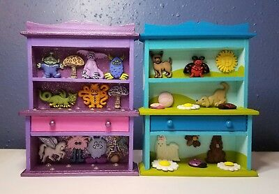 Hand Painted Dollhouse Miniature Cupboard Cabinet - Dog Park & Monsters Lot of 2