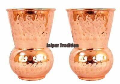 2 Pcs 100% Pure Hammered Copper Indian Handmade Glass/Cup Drinking Water A163