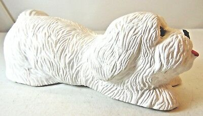 White Westie Crouching Dog Figure Made From Crushed Shells Cute Face