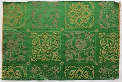 "Designer Fabric ""Lelievre""  Viscose Silk Ornate Florals  Green Gold French"