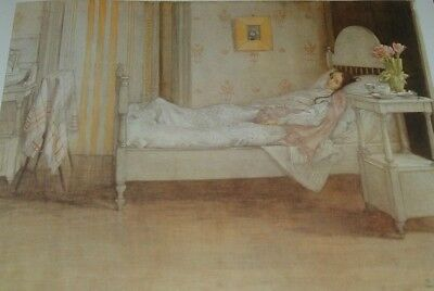 """Carl Larsson Print """"1899 'CONVALESCENCE' in Watercolor"""" Woman in Bed ILL"""