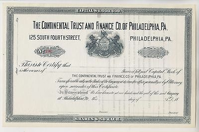 19th CENTURY CONTINENTAL TRUST AND FINANCE CO OF PHILADELPHIA STOCK CERTIFICATE