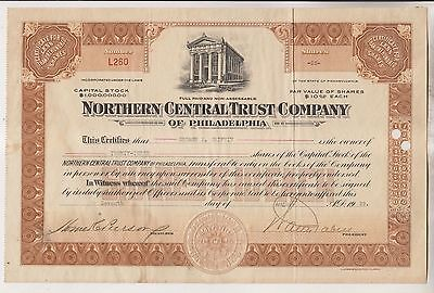 1929 Stock Certificate - Northern Central Trust Company Of Philadelphia - Pa