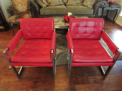 Vintage Mid Century Style Pair of Red Leather and Chrome Chairs