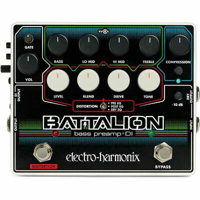 New EHX Electro-Harmonix BATTALION Bass Preamp and DI Effects Pedal + Ships Free