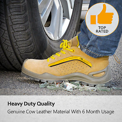 Men's Work Boots Steel Toe Safety Shoes Leather Outdoor Anti-smashing Shoes Hot
