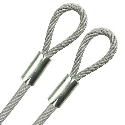 "Looped End 3/16"" Vinyl Coated Galvanized Steel Cable 7x19, 1/8"" Core, 1ft - 70ft"