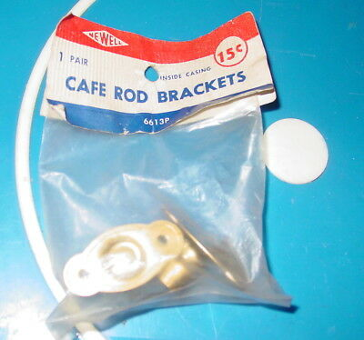 """Vintage Newell Cafe Curtain Rod Brackets Pair 6613P Inside Casing 3/8"""" NOS"""
