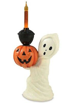 "Halloween GHOST BUBBLE LIGHT with Pumpkin 10.5"" tall Bethany Lowe JG4741"