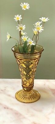 ANTIQUE ART DECO 1930's DEPRESSION GLASS AMBER TOFFEE VASE
