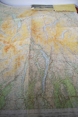 "Large 39"" x 32"" Ordnance Survey 1948 Cloth Map The Lake District England"