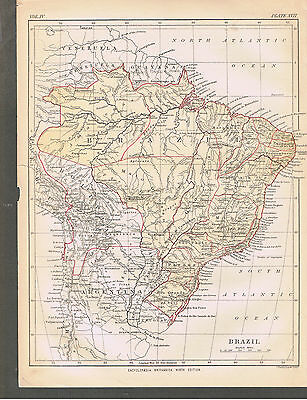 Ninth Edition 1875-1889 Encyclopedia Britannica ~ Vintage Page ~ Brazil Map