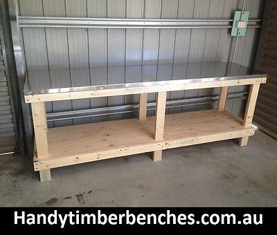 Timber Work Bench Stainless Steel top