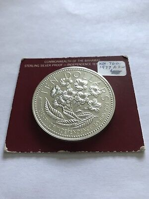 Bahamas 1977 Flower 10 Dollars Sterling Silver Coin Proof