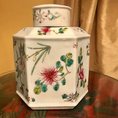 Antique Chinese Porcelain Famille Rose Flowers Decorated Tea Caddy