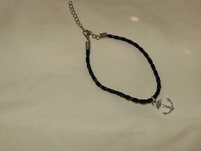 Black Braided Leather Rope Anklet Silver Vintage Nautical Anchor