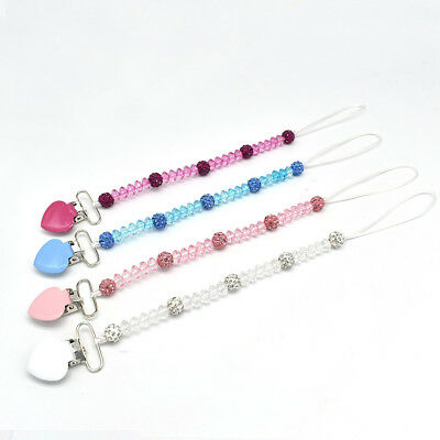 Baby Infants Crystal Beads Pacifier Holder Clip Nipple Teether Dummy Strap Chain