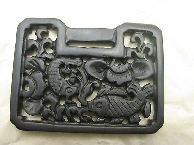 Antique Chinese Black Jade Pendant with Fish and Flower Motif