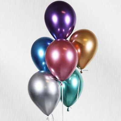 Chrome Metallic 28Cm Latex Balloons Pack 10 Birthday Wedding Party Qualatex