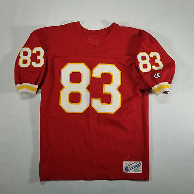 VTG 70s/80s CHAMPION KC Chiefs NFL Football Jersey LARGE #83 USA Red White