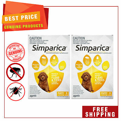 SIMPARICA Chewable for Dogs 1.3 to 2.5 Kg 6 Chews YELLOW Flea Tick Control