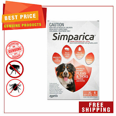 SIMPARICA Chewable for Dogs 40.1 to 60 Kg 6 Chews RED Flea Tick Control