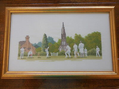 Cross Stitch Completed & Framed Cricket On Village Oval