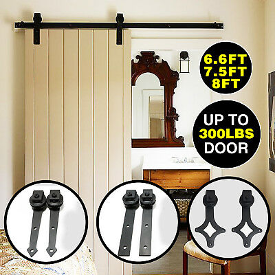 Sliding Barn Door Hardware Track Rail Kit Roller Set Carbon Steel 6.6 /7.5/ 8FT