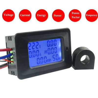 AC 110V-250V Voltage Amp 100A 20A Power Factor KWH Frequency Digital Panel Meter