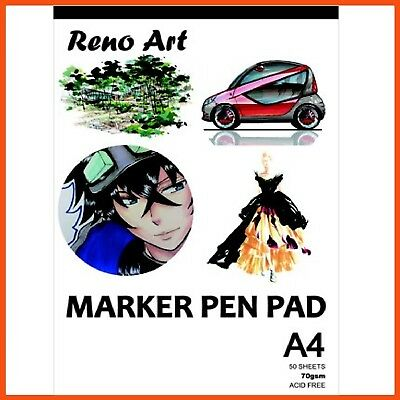 10 x RENO ART A4 MARKER PEN PAD 70gsm 100pgs | Artist Drawing Paper Sketchbook