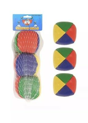Set of 3 Juggling Balls Circus Clown Coloured Learn to Juggle Toy Game Soft, UK