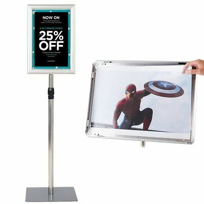Adjustable Pedestal Poster Stand Aluminum Sign Holder  8.5 x 11 Inches Graphics