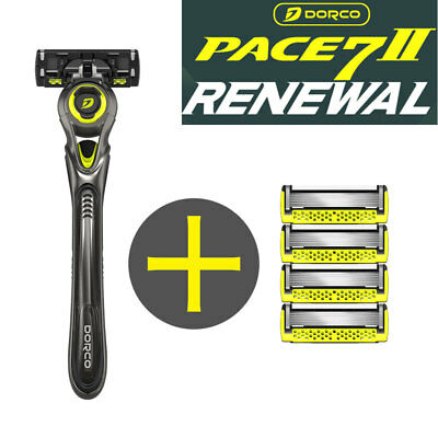Dorco New Pace 7 II World's First Seven Razor Blade 1 handle + 4 Cartridge