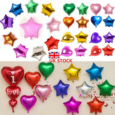 1/5/10 Pcs Heart Star Shaped Foil Balloons Helium Wedding Birthday Party Decor