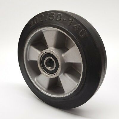 200/50 - 140mm rubber steer wheel for hand pallet truck (60mm hub width)