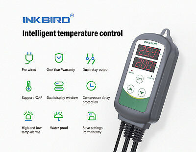 Inkbird Digtial Thermostat ITC308 Temperature Switch 2 Relays Brew Reptiles 110V
