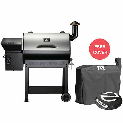 Z GRILLS ZPG-7002E Wood Pellet BBQ Grill Smoker Digital Control with Patio Cover