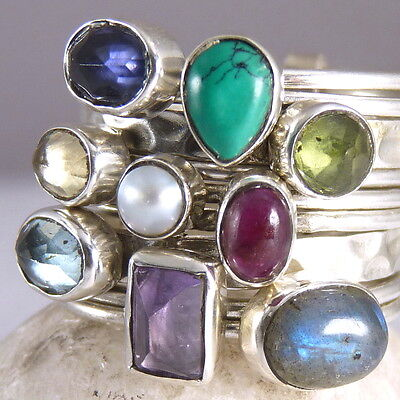 9-STACK SILVERSARI Rings Size US 7.75 Solid 925 Sterling Silver MULTIGEM STR1001