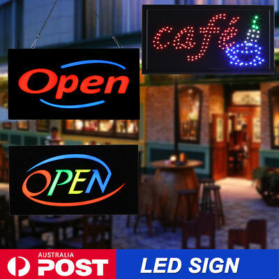 Large Led Neon Light Open Sign Electric Board Business Shop Cafe Restaurant