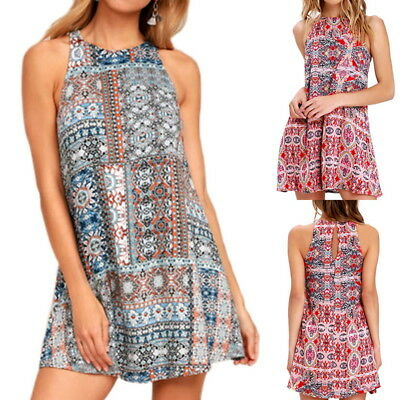 AU Boho Womens Summer Casual Printed Sleeveless Mini Kaftan Dress Beach Sundress